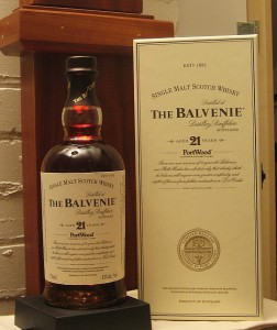 Balvenie Port Wood 21 Year Old Single Malt Scotch Bottle and Packing Tube
