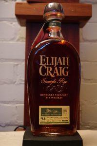 Bottle of Elijah Craig Straight Rye